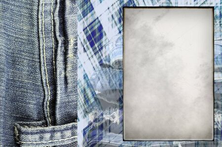 frame for photos with jeans  in scrapbooking style photo