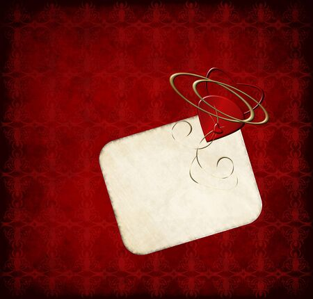 romantic greeting card with hearts on red grunge background Stock Photo - 10560480