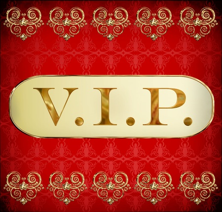 VIP golden card on grunge red background photo