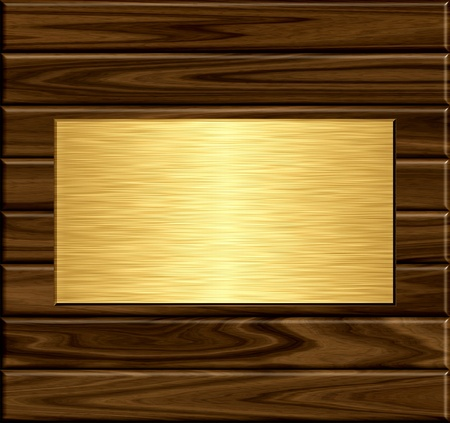 gold metal plate on grunge wooden background photo