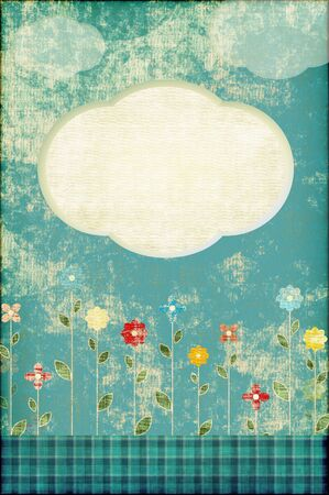 Abstract background with flowers  in scrapbooking style photo