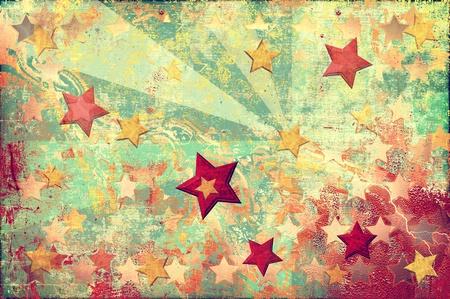 グランジ スタイルでオレンジ色の背景にカラフルな星