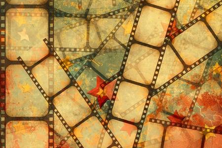 Fondo grunge - tira de la película sobre un fondo de estrellas Foto de archivo