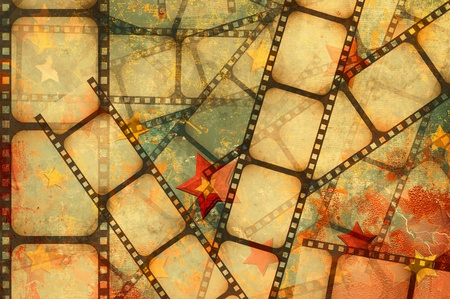 strips: grunge background - film strip on a stars background Stock Photo