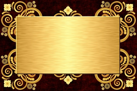steel plate: gold metal plate on grunge leather background