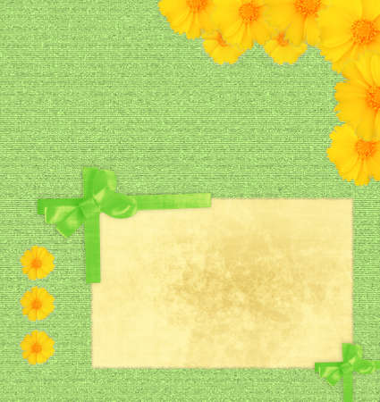 Framework for a photo or congratulation with yellow flowers  photo