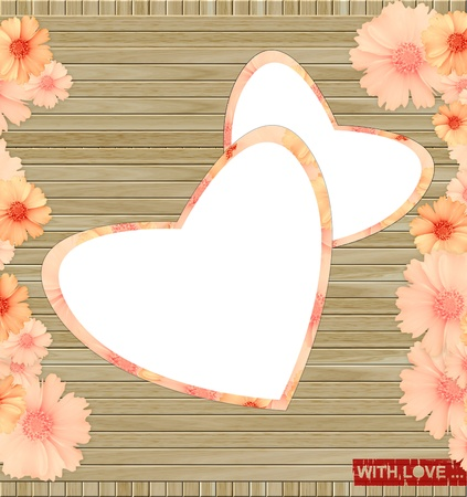 love greeting card - a wooden background with hearts and flowers photo