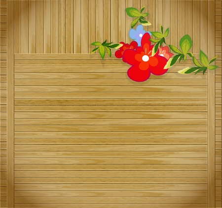 flowers on striped grunge wooden background with place for text Vector