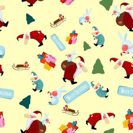 Christmas tree with Santa Claus and gifts - seamless background Vector