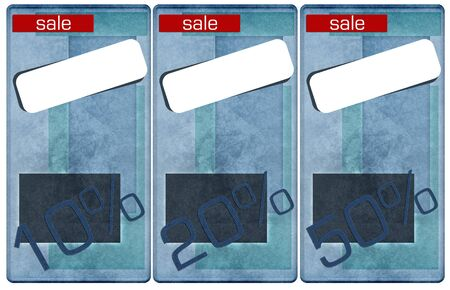 sale jeans tags, price and discount percents  photo