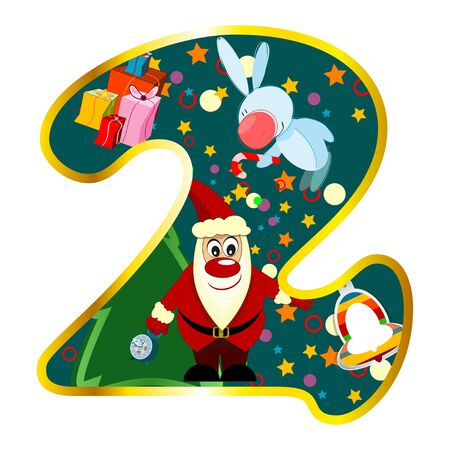 Digit 2 with Christmas symbols isolated on white Vector