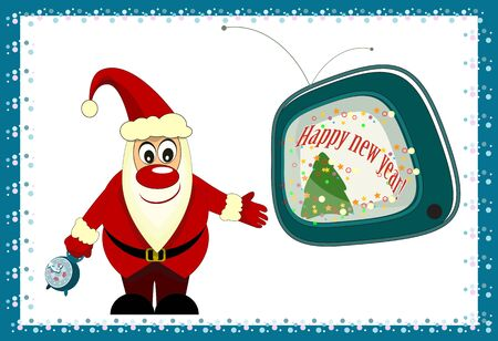 Christmas tree with Santa Claus and tv on white background Vector
