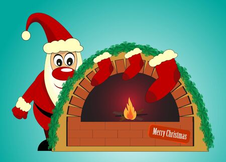 santa claus and fireplace on blue background Vector