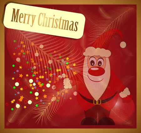 Christmas card with Santa Claus on a red background Vector