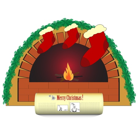 flagstone: Christmas fireplace and a newspaper on white background Illustration