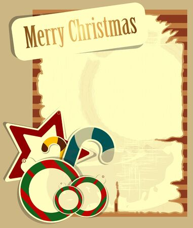Christmas card with balls and bells in vintage style Vector
