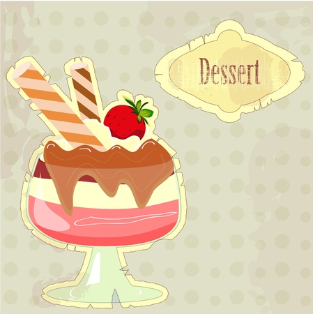 Beautiful vintage card with a strawberry dessert Stock Vector - 11010260