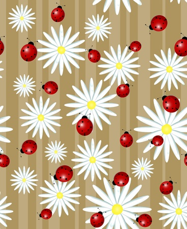 small flowers: ladybug and daisy on a striped background - seamless texture Illustration