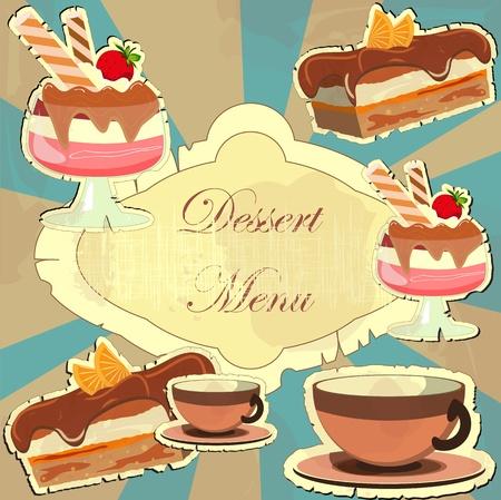 Bella carta vintage con un dessert di fragole