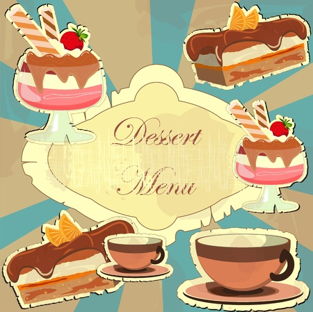 Belle carte vintage avec un dessert aux fraises