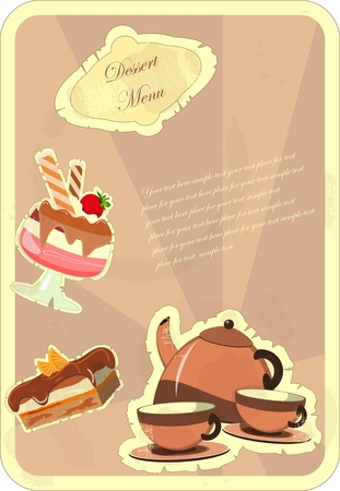 Beautiful vintage card with a strawberry dessert Stock Vector - 11010267