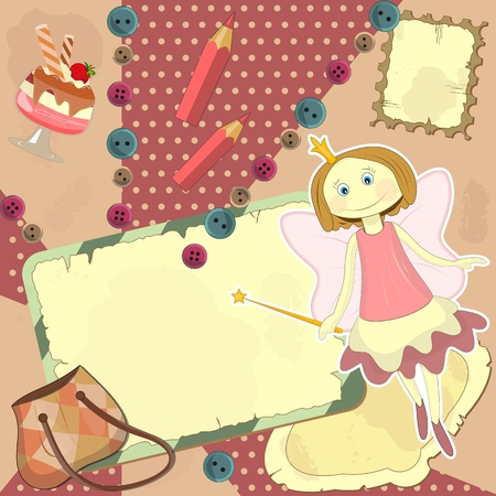 Fairy - Cover for the diary in the style of scrapbooking Vector