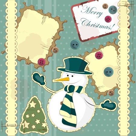 Christmas card in vintage style - a snowman on the hill Vector