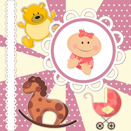 scrapbooking card for baby girl with toys Vector