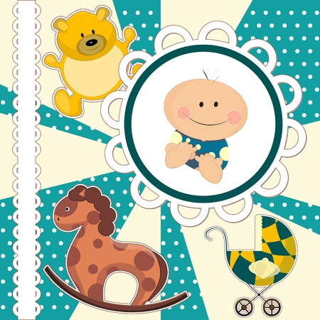 scrapbooking card for baby boy with toys Vector