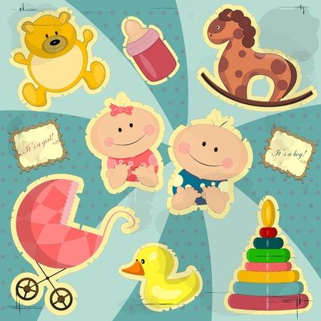 perambulator: carta vintage per bambina e bambino con i giocattoli