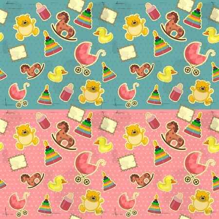 vintage seamless for baby girl and boy with toys Vector