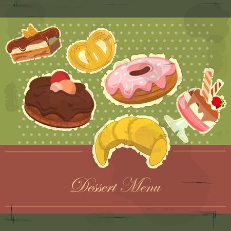 beignet: Belle carte vintage avec une fraise et un dessert au chocolat Illustration