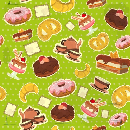 vintage seamless background with a strawberry and chocolate dessert Vector