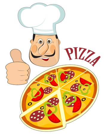 pizza dough: Italian chef and a pizza isolated on white background Illustration