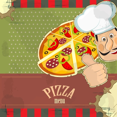pepperoni: Italian vintage menu - chef and a pizza  on grunge background Illustration