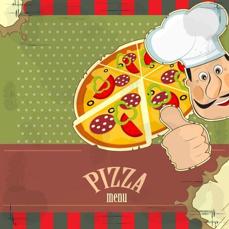 restaurant staff: Italian vintage menu - chef and a pizza  on grunge background Illustration