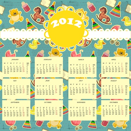 Babys calendar 2012  - Week starts on Monday Vector