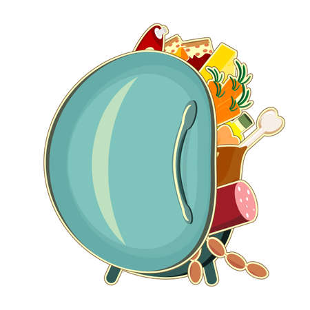 vintage refrigerator with food isolated on white background  Vector