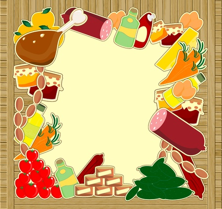 food frame - meal on wooden background Vector