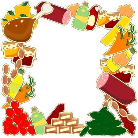 food frame - meal on white background Vector