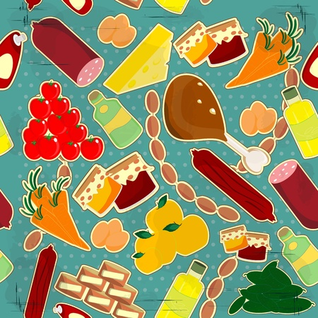 food seamless texture - meal on vintage background Vector