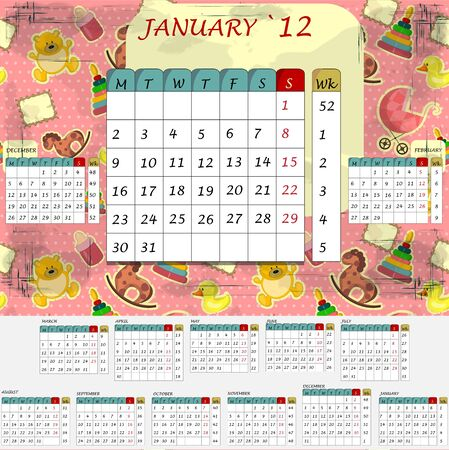 monthly calendar: Baby`s monthly calendar 2012 - all months in the set