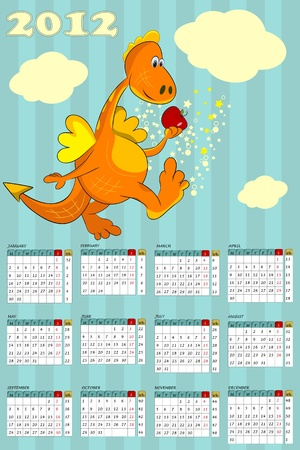 calendar with cartoon dragon  - symbol 2012 Vector