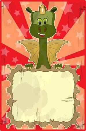 greeting card with dragon and place for text Vector