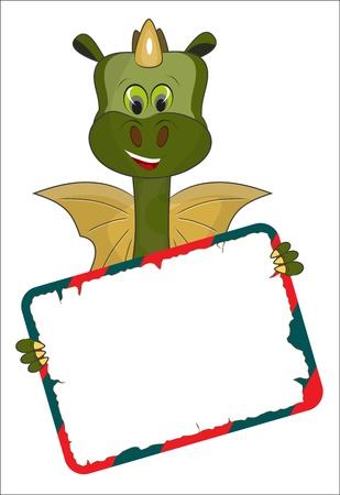Dibujos animados dragón verde con una tarjeta - símbolo de 2012