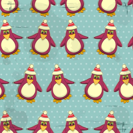 Christmas seamless texture - Penguins on a blue vintage background Vector