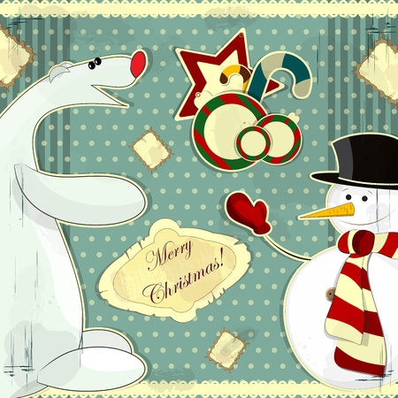 Christmas card in vintage style - a snowman and polar bear Vector