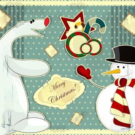 Christmas card in vintage style - a snowman and polar bear Vector