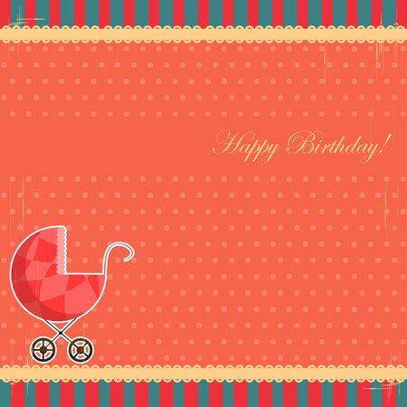 baby girl cartoon: scrapbooking card for baby girl with pram
