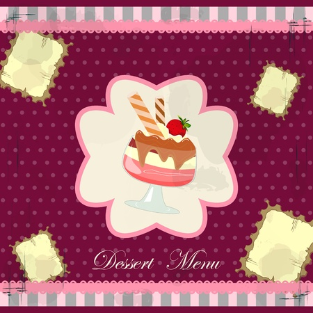 chocolate mousse: Beautiful vintage card with a strawberry dessert